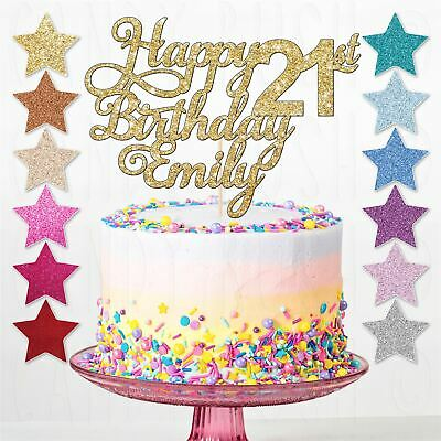 Personalised Glitter 21st Happy Birthday Cake Topper Any Age Any Name 16th 30th