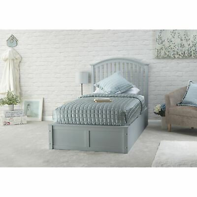 Grey 3ft Single Storage Ottoman Bed End Lift Function Spindle Headboard Madrid