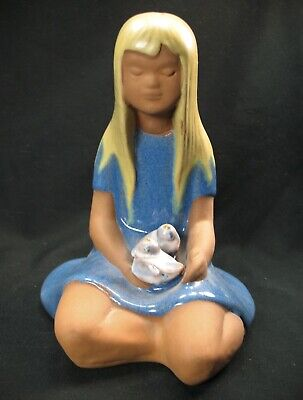 Jie Gantofta Blonde Girl with Birds Ceramic Sculpture Edit Risberg Sweden EVC