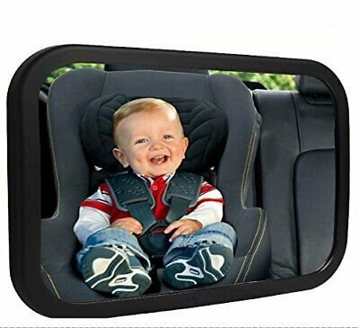 Baby Car Mirror Black Polymer Plastic Frame Extra-Large Wide Angle Safety Glass