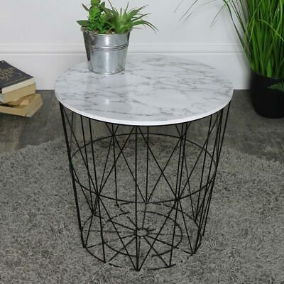 Round black white marble effect wire metal side occasional table living room