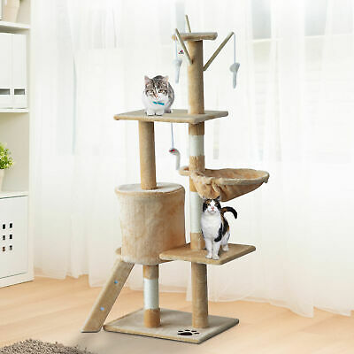 Cat Tree Scratching Activity Centre Bed Scratcher Beige Carpeted new with Toys !
