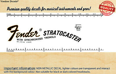 Fender Stratocaster 1969 headstock waterslide decal