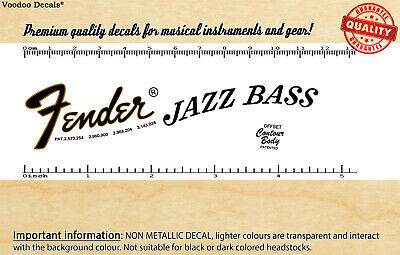 Fender Jazz Bass 1974 headstock waterslide decal
