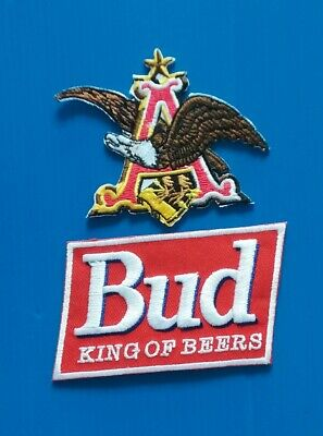 2 BUDWEISER BUD BEER KING OF BEERS Embroidered Iron Or Sewn On Patches Free Ship