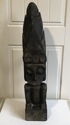 Large Floor Standing Hand Carved Solid Wood Tiki Statue/Totem