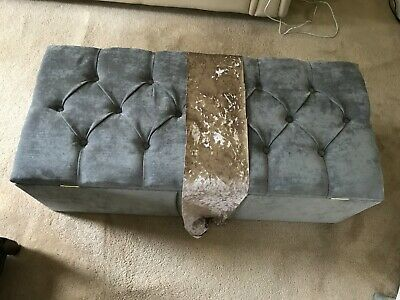 Silver/Grey Chesterfield Ottoman Storage Box Bedroom or Living Room