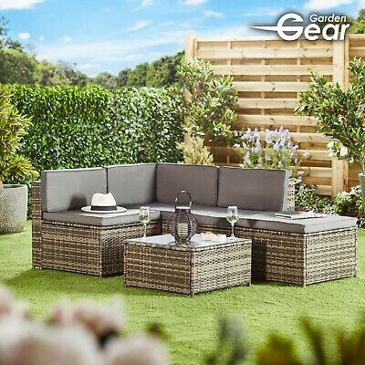 Garden Gear Rattan Daybed Furniture Outdoor Patio Lounger 4pc Sofa & Table Set