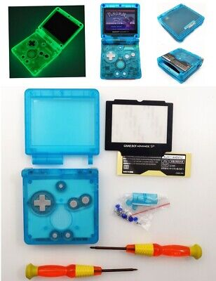 Glow In The Dark Clear Blue Shell Housing Case For Game Boy Advance SP GBA SP