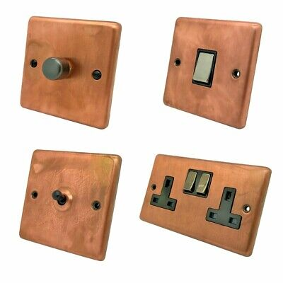 Flat Plate Antique Copper FAC3 Light Switches Cooker Plug Sockets TV Dimmers