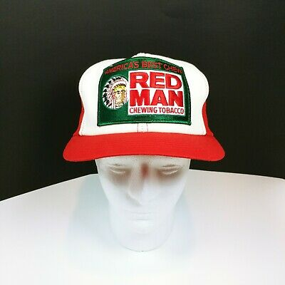 9d0150344 VINTAGE RED MAN Chewing Tobacco Trucker Hat Cap Snapback Patch Mesh USA Chew