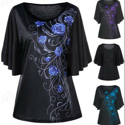 ca0d7cd2a1 Women's Kaftan Batwing Sleeve Tunic Tops Loose Floral Print Blouse Plus  Size US
