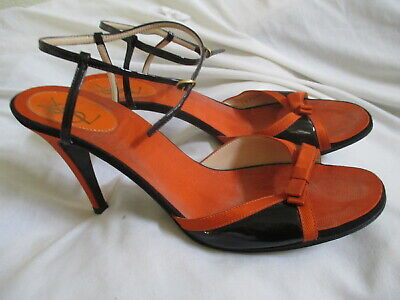 4a85f1e6ee8 Yves Saint Laurent Black Leather Orange Fabric Bow Strap Heel Sandals, Size  9M,