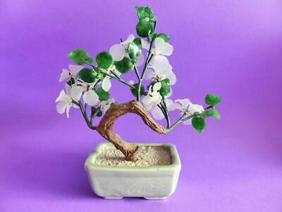 Vintage Glass Bonsai Tree with White Blossoms and Pottery Base, 1960s