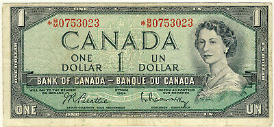 "1954 Canada 1 Dollar ""ASTERISK"" replacement note with BM 0753023 Serial number"
