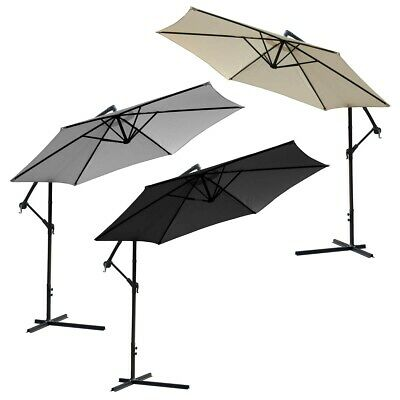 3M Banana Overhanging  Parasol Umbrella Patio Garden Sunshade Black,Ecru Or Grey