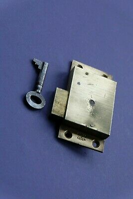 Antique brass LCC 2 lever cabinet cupboard furniture door lock c/w key 3""