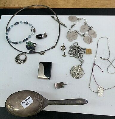 Sterling SILVER 925 10 k Gold lot of VINTAGE ESTATE JEWELRY Necklaces Ear Ring