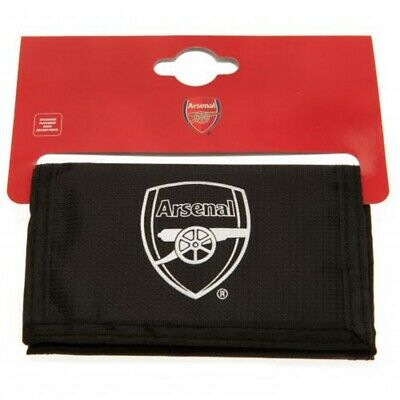 Arsenal FC Nylon Wallet Official Merchandise Zipped Black Gunners Money Wallet