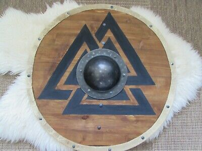 Valknut symbol handmade planked Viking Shield