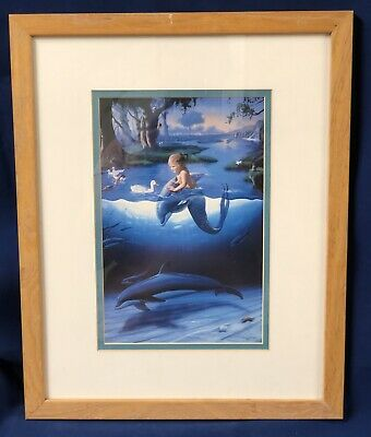 Framed Print The Littlest Mermaid Dolphins Hawaii Artists Wyland and Warren 1994