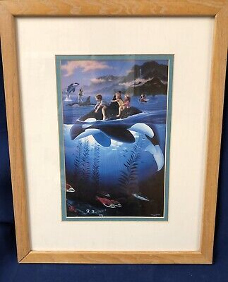 Framed Print Whale Rides Hawaii Artists Wyland and Warren 1994