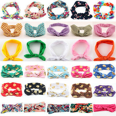 Baby Girl Headband Ribbon Elastic Headdress Kids Hair Band Bow Bunny Turban Knot