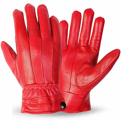 Ladies Women Soft  Real 100% Leather Gloves with lining Driving Winter  S/M-M/L