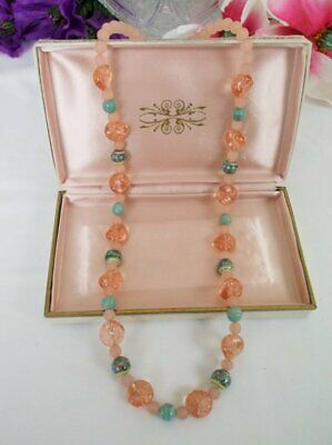 """Antique Vintage Pink Art Glass Ceramic Flower Beads Frosted Glass 28"""" Necklace"""