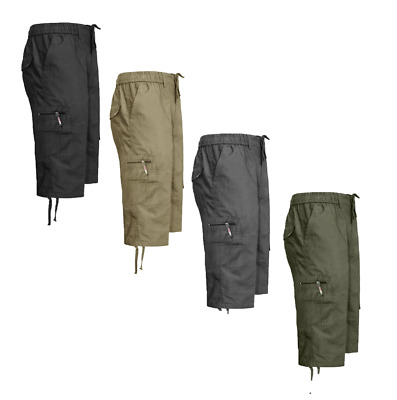 Mens Elasticated Waist Cotton Cargo Combat 3/4 Long Length Shorts In All Size