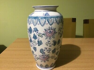 """Vintage Chinese Blue & White Vase Pink & Green Chinoiserie Decoration 10""""/25cm"""