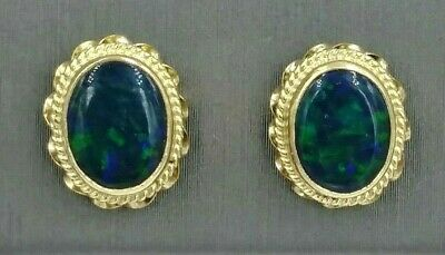 Vintage 14K Yellow Gold Stud Earrings With Black Multicolored Opal Free Shipping