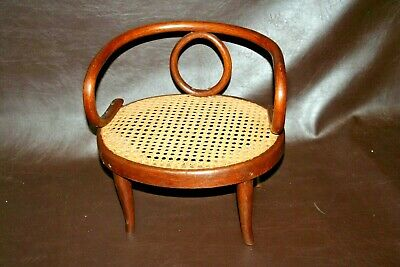 "Antique RARE Austrian Bentwood 13"" Tall Child's Arm Chair w/ Cane Seat c. 1917"