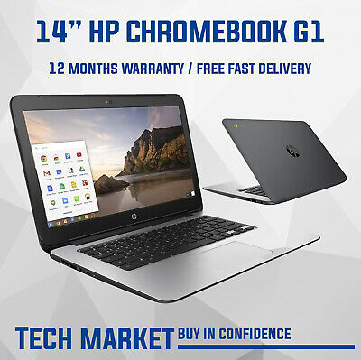 "Hp Laptop Chromebook Powerful 14"" 16Gb 4Gb Webcam Hdmi Refurbished Black Cheap"