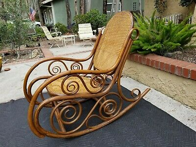 Vintage Thonet Style Hand-Caned Bentwood Scroll Rocker1970's