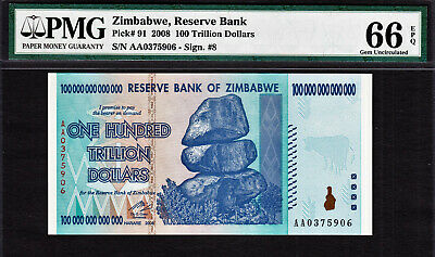 Zimbabwe 100 TRILLION Dollars AA 2008 Pick-91 CERTIFIED BY PMG GEM UNC 66 EPQ