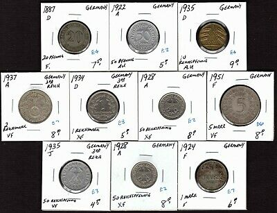 GERMANY 1887-1951 10 Pfennig to 5 Mark 10 Pc. Lot