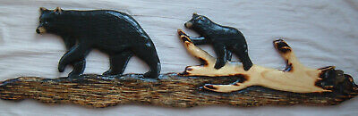 MAMA BLACK BEAR AND CUB Chainsaw Wood Carving  Cabin Decor Wall Art