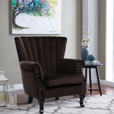 Upholstered Fabric Coffee Vintage Easy Armchair Studded High Back Chair Tub Sofa