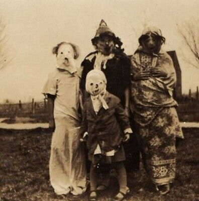 Scary Vintage Creepy Children Clown PHOTO Freak Strange Weird Halloween Costume