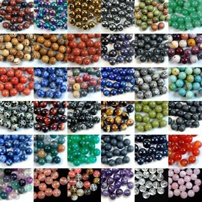 Natural Gemstone Round Spacer Loose Beads 4mm 6mm 8mm 10mm Assorted Stone