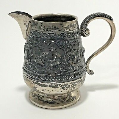 Antique Silver Pitcher Handmade Handle Spout Ornate Aged Patina Tea Water India