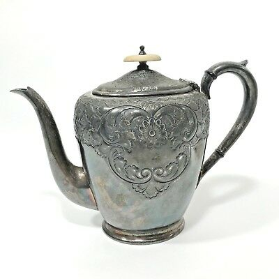Antique Tea Pot Baker Brothers English Britnoid Birmingham Silver Plate Marked