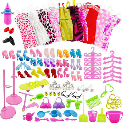 103 Items Barbie Doll Dress Jewellery Shoe Dress Up Kit For Party Outfit Fashion