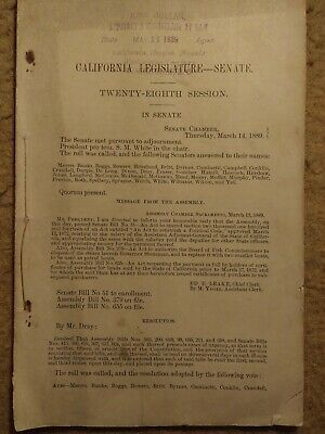 1889 Senate meeting 28th session California legislature - string binding