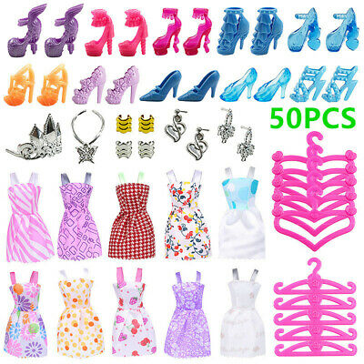 50pcs Barbie Doll Accessories Clothes Jewellery Shoes Hangers Kit Children Gift