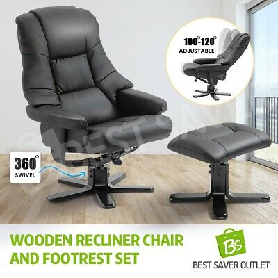 New Armchair Recliner Seat Chair Lounge Sofa Ottoman PU Leather  w/Footrest Set