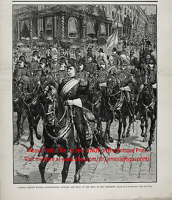 Funeral Of President & General Grant with Gen Hancock, Large 1880s Antique Print