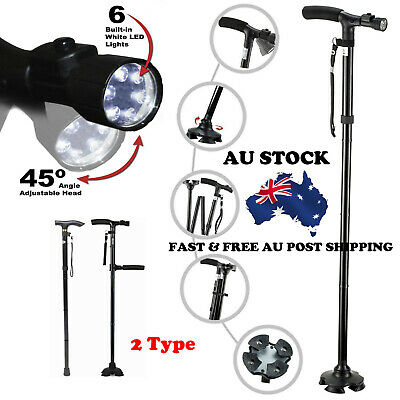 Au Self Standing Foldable Walking Cane With 6 Led Lights Original New Hot Sale