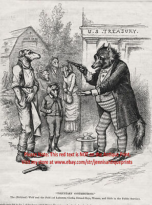 Taxation IRS Wolf Tax Collector Internal Revenue Service, 1880s Antique Print